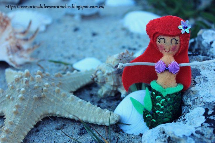 Felt Doll little mermaid. Fieltro la Sirenita http://accesoriosdulcescaramelos.blogspot.com.es/2013/07/la-sirenita.html
