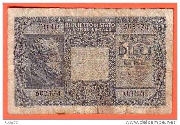 Billet - ITALIE - 10 lire du 23 / 11 / 1944