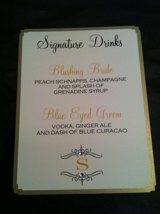 Gold And Ivory Signature Drink Sign Display By Bella M Events Etsy