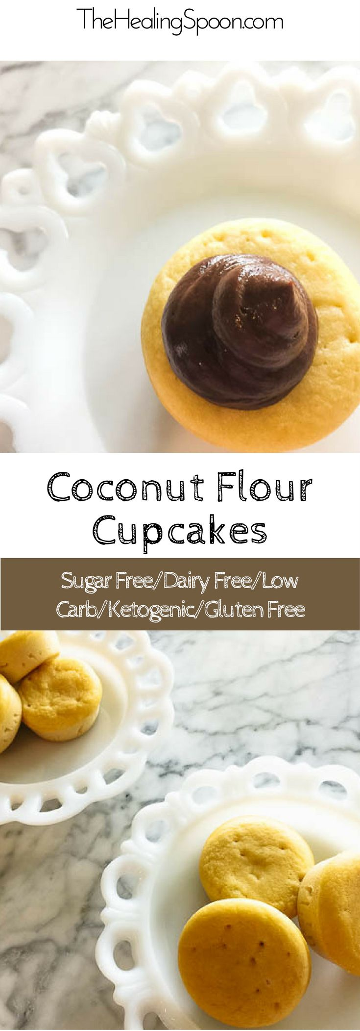 sugar free, gluten free, dairy free, low carb, keto coconut flour vanilla cupcakes with chocolate frosting