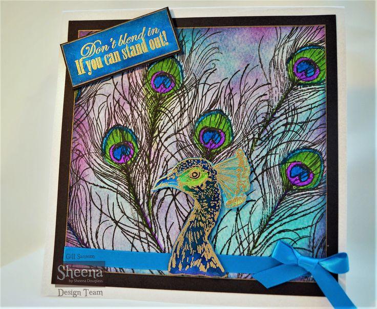 sample made using Sheena Douglass Temptingly tropical peacock stamps.