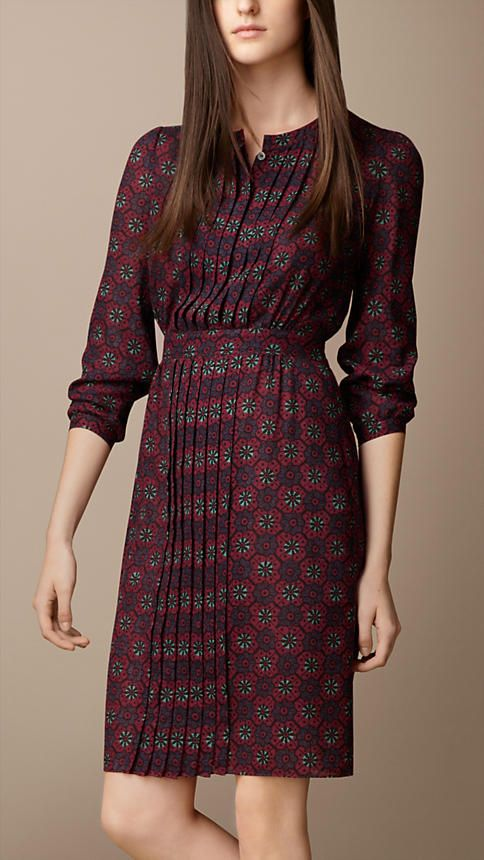 Burberry Pleat Detail Floral Print Dress