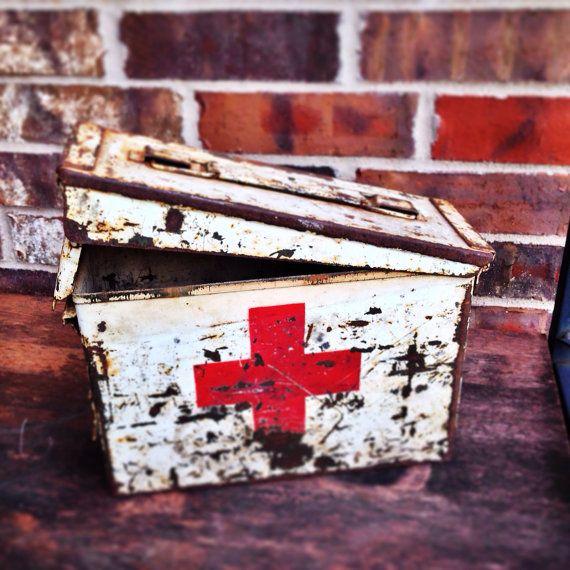 Vintage Industrial First Aid Red Cross Metal Box