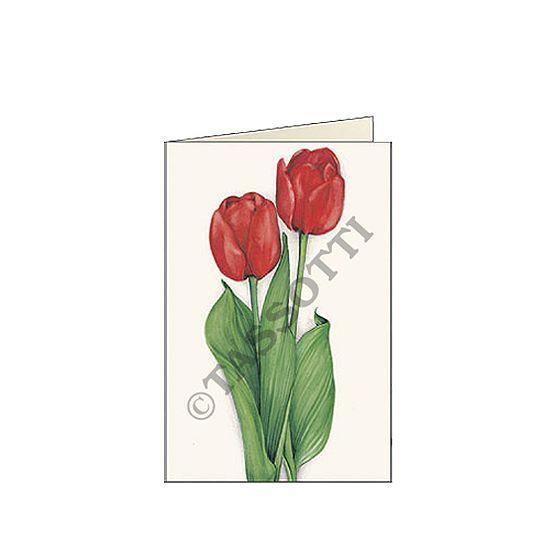 "Biglietti d'auguri piccoli (7x10,5 cm) Tassotti ""Tulipani rossi"" - Greeting cards small size (7x10,5 cm) Tassotti ""Tulipani rossi"" - Tarjetas de felicitaciòn pequenas (7x10,5 cm) Tassotti ""Tulipani rossi"""