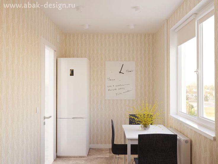 Готовые дизайн-проекты квартир в домах серии П-44Т - Однушка левая - Кухня 6,9-7,4 м2