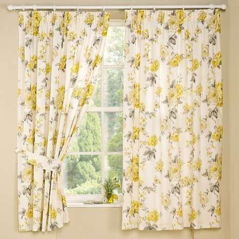 Lemon Windermere Thermal Pencil Pleat Curtains Bedroom Ideas Pinterest Floral Patterns