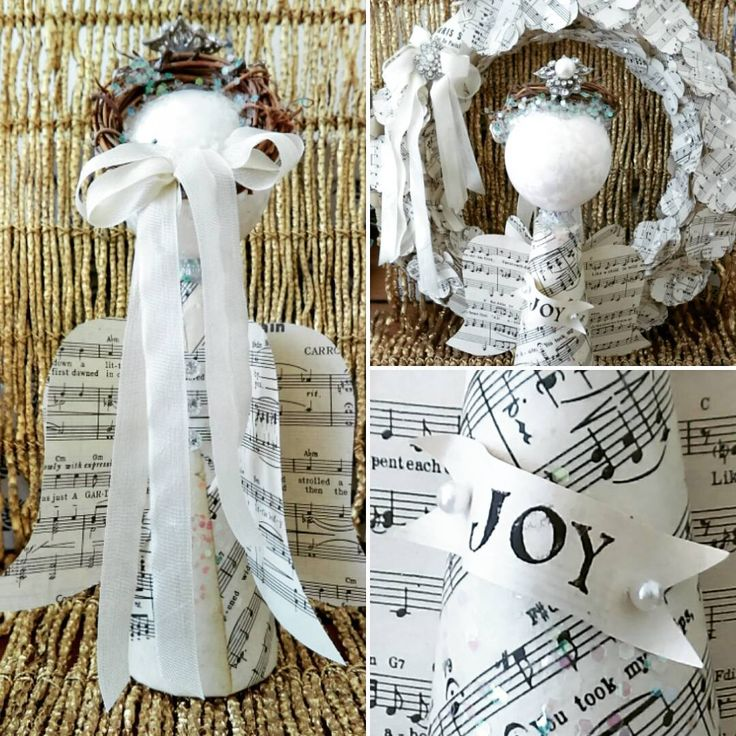 Handmade Sweet Vintage Sheet Music Angel ~ JOY!  Original Design by Suzanne MacCrone Rogers