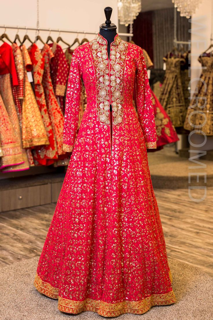 Red lacha jacket.With resham and sequins embroidery .Paired with a red silk skirt, no dupatta.For this mail us at contact@ladyselection.com