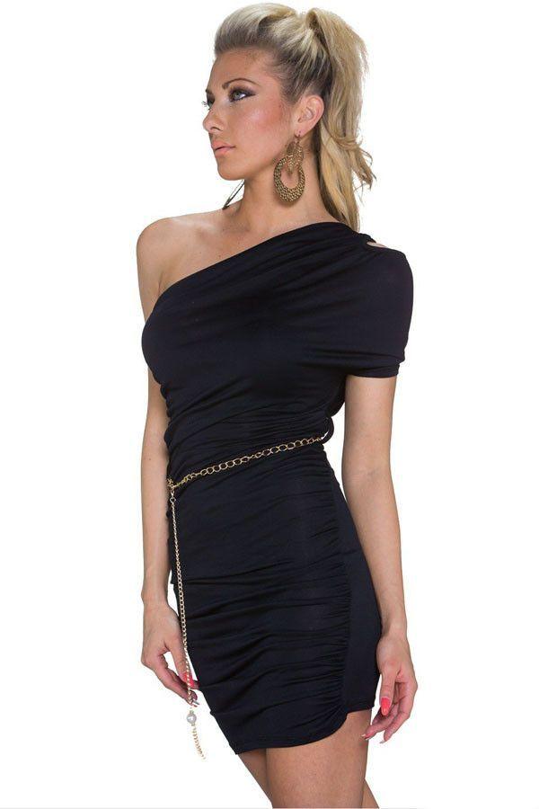 Prix: €10.84 Robes Moulantes Noir Cut Out Une epaule Plexe Robe Pas Cher www.modebuy.com @Modebuy #Modebuy #Noir #me #sexy