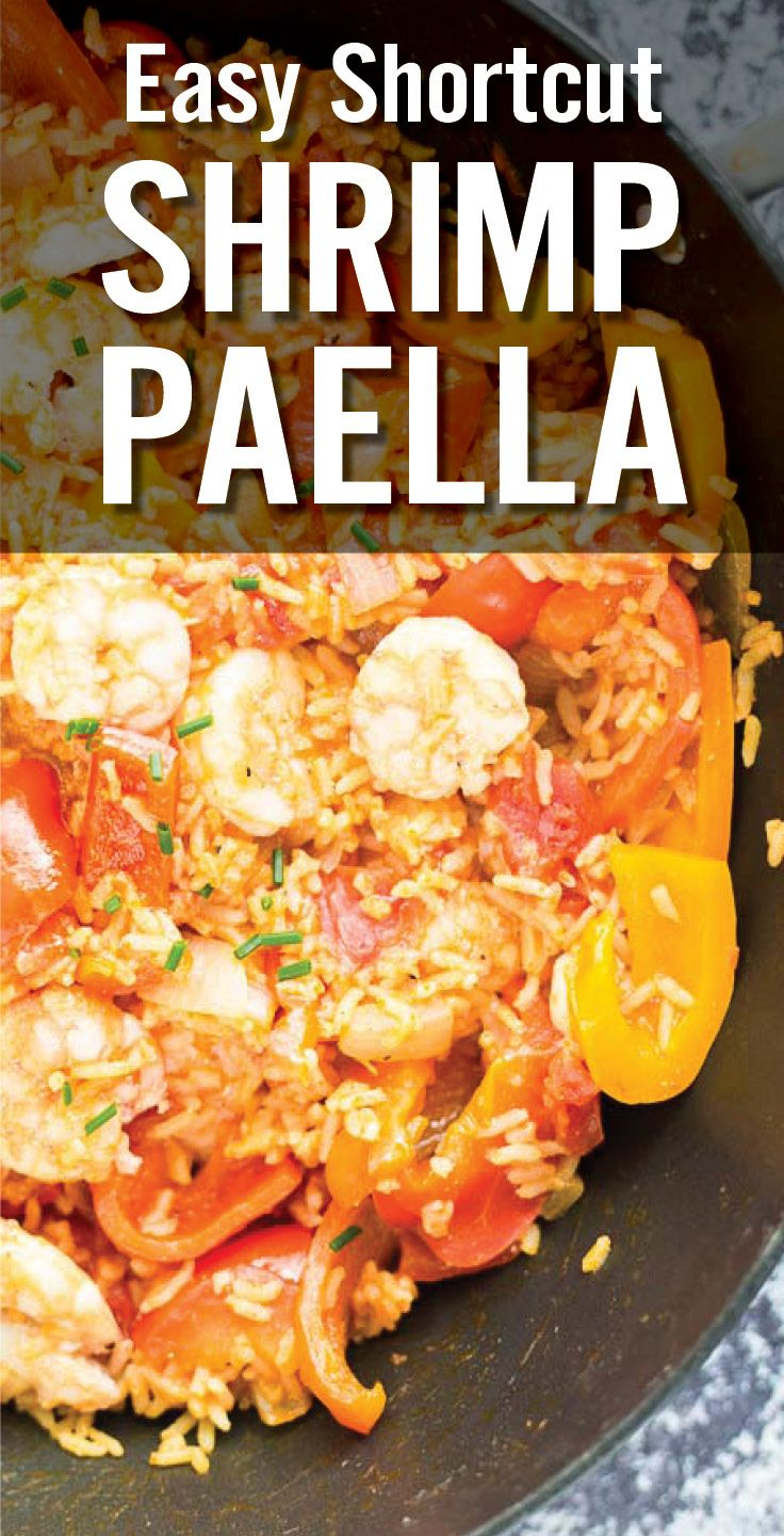 Learn how to make paella at home with Easy Shortcut Shrimp Paella. Garlic, onion, bell pepper and diced tomato with Spanish rice and sauteed shrimp. - www.platingpixels.com