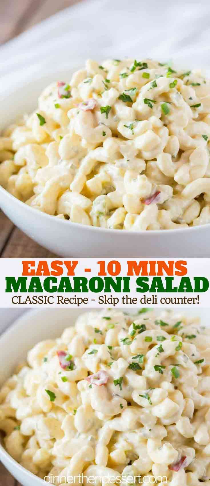 Classic Macaroni salad is an easy side dish you can make the night before your n…   – All The Recipes – Dinner, then Dessert