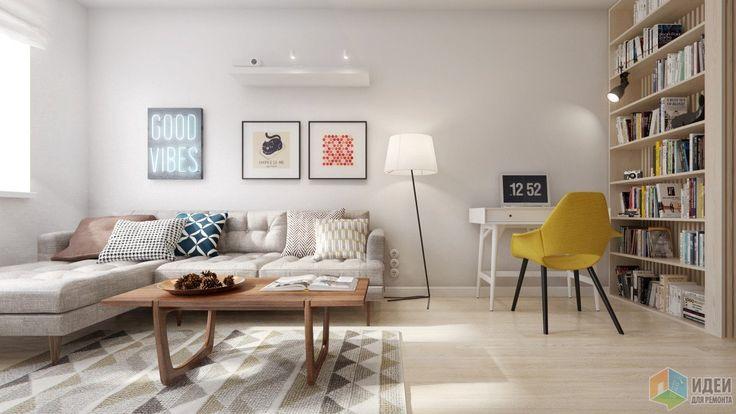 Светлая уютная квартира для молодой пары с мебелью в стиле mid-century, различными геометрическими узорами, использованием деревянных реек в отделке, грифельно-магнитной стеной и скандинавским декором. Планировочная схема