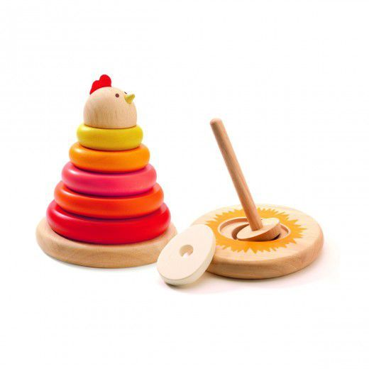 wooden toy with hidden egg as the last ring