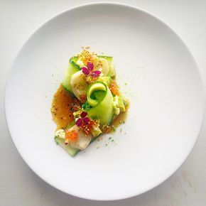 Scallop Carpaccio • Lime Marinated Cucumber • Trout Roe • Yuzu Sesame Seed • Wasabi Soy • Pickled Apple • Avocado