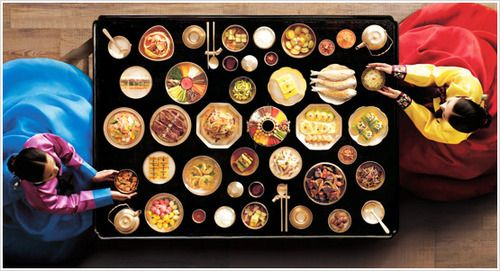 Elegant Korean food setting