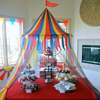 The Partiologist's Under The Big Top.  Cute Circus Themed Centerpiece!