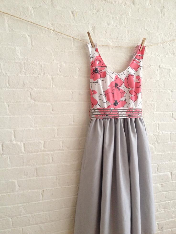 coral and grey tea dress