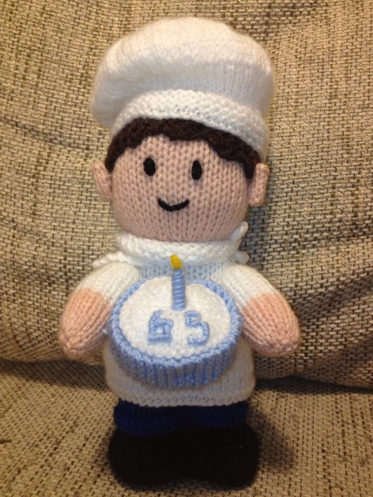 Jean Greenhowe knitted chef for 65th birthday