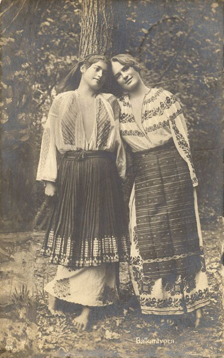 Romanian Girls in Costume, Postcard 1918