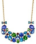 Betsey Johnson Necklace, Gold-Tone Multi-Gem Frontal Necklace