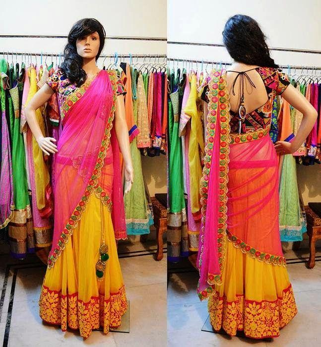 Yellow Half Saree with Work Blouse | Saree Blouse Patterns