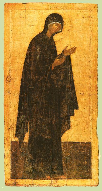 1405 г. Феофан Грек.  БОГОМАТЕРЬ.  Икона деисусного чина иконостаса..