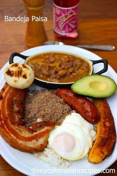 Receta de Bandeja Pisa Colombia (contains Beans, Rice, Chicharron, Carne en polvo, choirzo. fried egg, plaintain, avocado and arepa