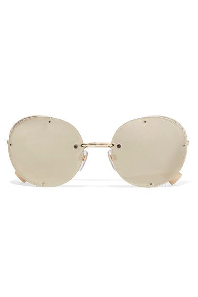 Valentino - Round-frame Gold-tone Mirrored Sunglasses - one size