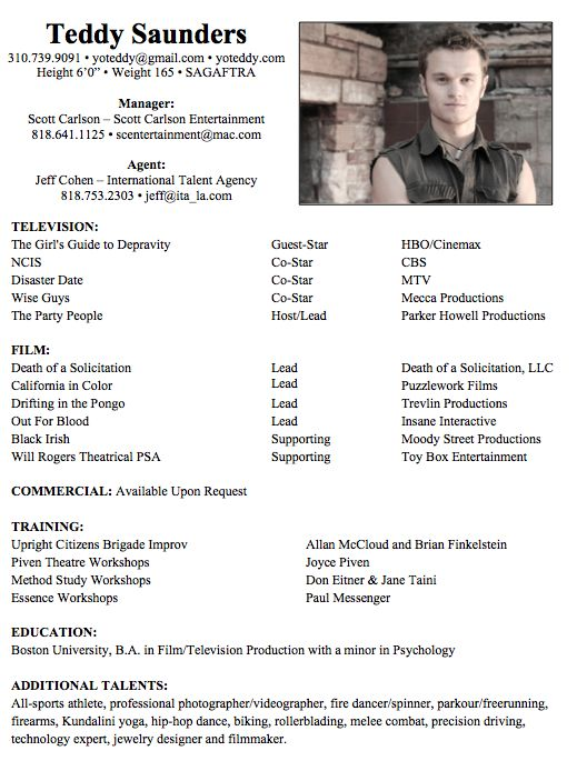 Talent Resume Sample Student Actor Resume Template 10+ Acting ...