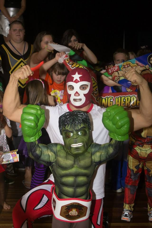 "NEW Super Wrestling Hero Champion and Best Dressed at our 2014 Disco party ""HULK SMASH""   www.superwrestlingheroes.com.au/store"