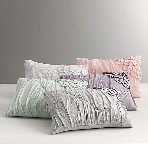 Washed Applique Fleur Boudoir Sham Nursery Pillows