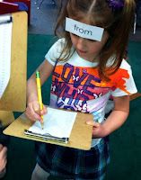 Each child got a list, clip board, pencil and one flash card (on a headband). Then the students roamed around the room reading sight words. They drew a line from their peer's name to the sight word they read off their peer's forehead.