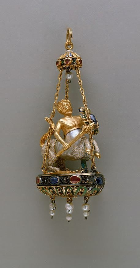 Pendant in the form of a centaur. Date: late 16th–early 17th century. Culture: possibly Spanish. Medium: Baroque pearl with enameled gold mounts set with sapphires and rubies, and with pendent pearls.