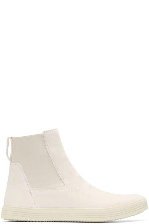 7eead396354 Rick Owens - Off-White Suede Mastodon Elastic Boots | shoes(men ...