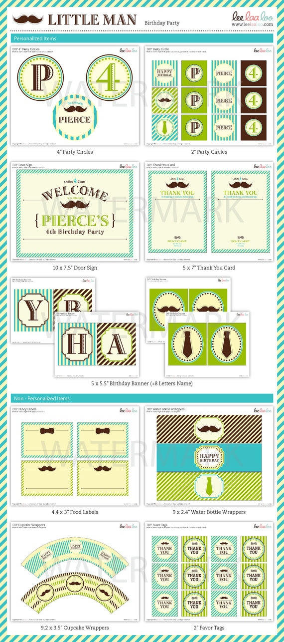Mustache Little man Birthday Party Package by leelaaloo on Etsy, $29.00
