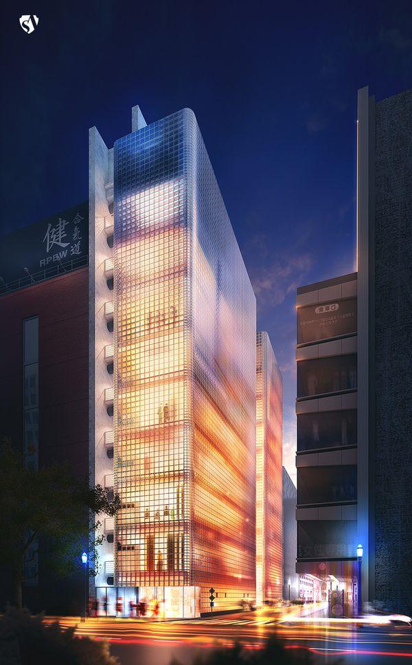 Maison Hermes Renzo Piano Building Workshop by State of Art Studio , via Behance  -  acces en hauteur