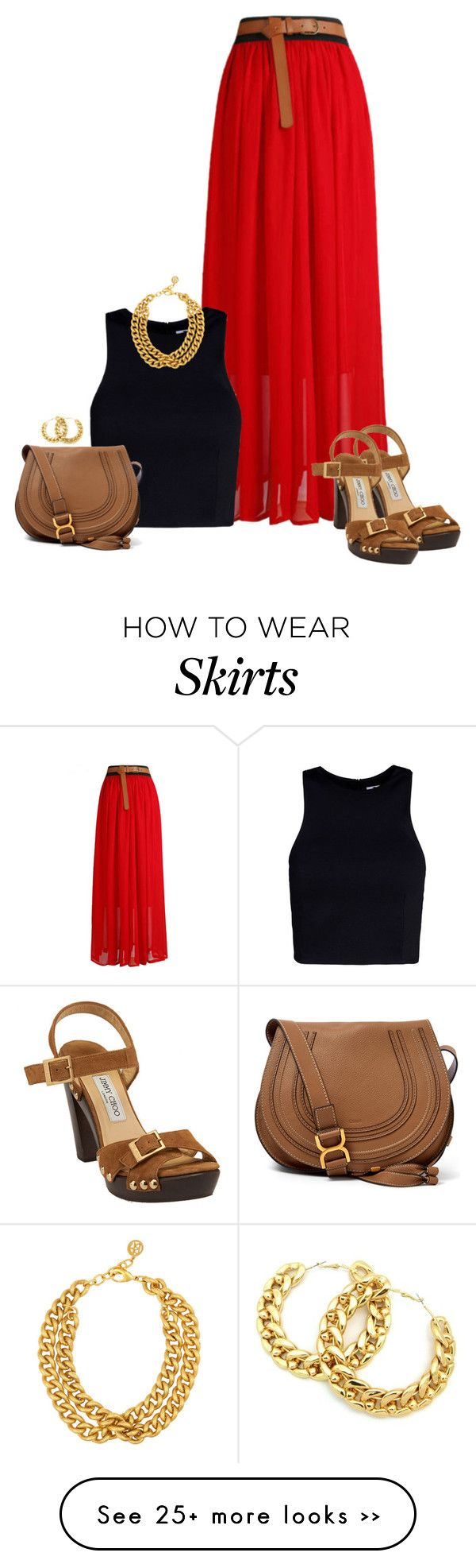 """Red Belted Skirt"" by mcsp on Polyvore"