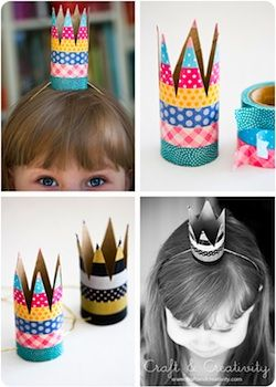 Craft & Creativity toilet paper roll party crowns with washi tape