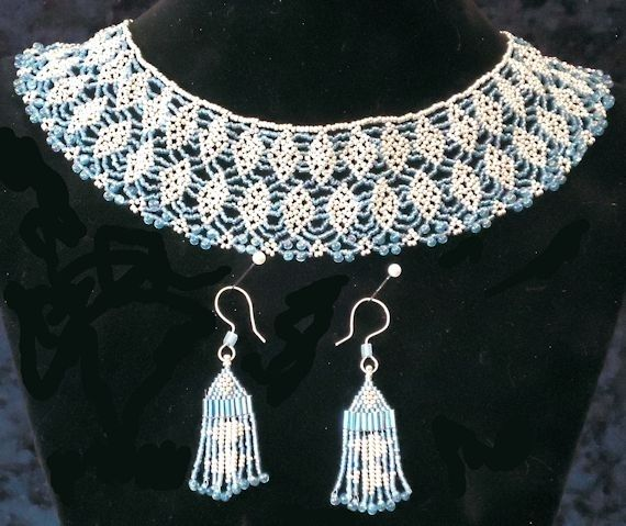 Beaded Silver And Blue Necklace And Earrings