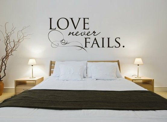 Vinyl wall sticker decal art love never fails bed wall for Bed love decoration