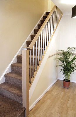 The Contemporary Staircase Handrail, Baserail and Spindle Kit (Pine/Chrome)