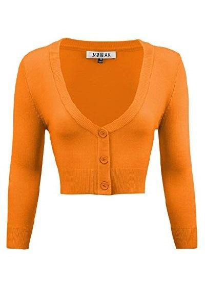 28461021a7c Sweater - Mak Cropped Cardigan in Light Orange.