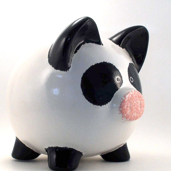 Personalized Piggy Bank  Panda Bear  with hole or NO by ThePigPen, $42.50