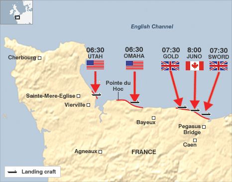 A map showing the location of the 5 beaches and the time at which landing craft hit the beaches...