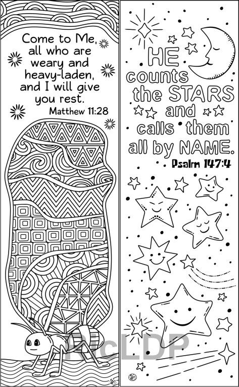 8 Bible Coloring Bookmarks Animals Insects Designs