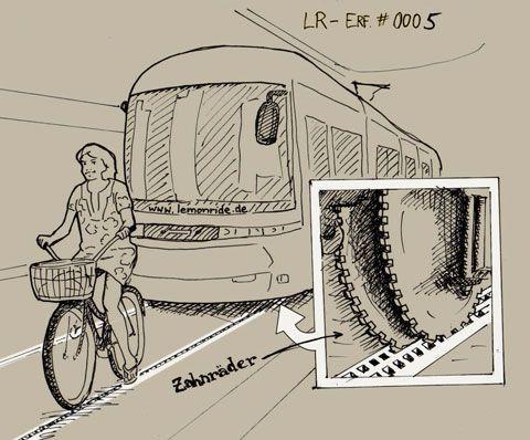 Nie wieder in Straßenbahnschienen geraten! Statt der glatten schienen ein Zahnradprinzip und kein Radler wäre mehr in Gefahr! #LemonRide #Fahrrad #Straßenbahnschiene #Accessoire #Erfindung