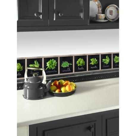 Frise Adhésive Herbier, idéal dans la cuisine pour tous les passionnés de petits et de grands plats. Graham & Brown 500x15cm.