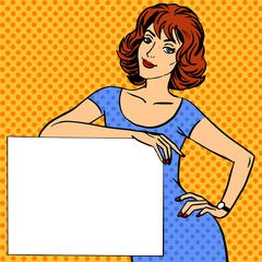 woman with poster place for text Pop art vintage comic