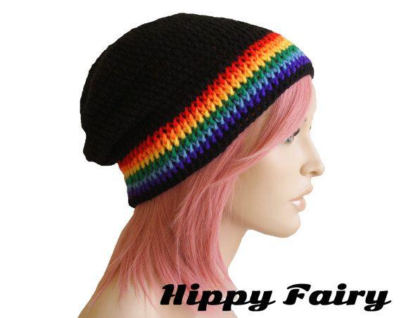 Slouch beanie Rainbow slouch beanie ,slouch beanie, Festival clothing, long beanie, festival hat, festival wear, Gay pride