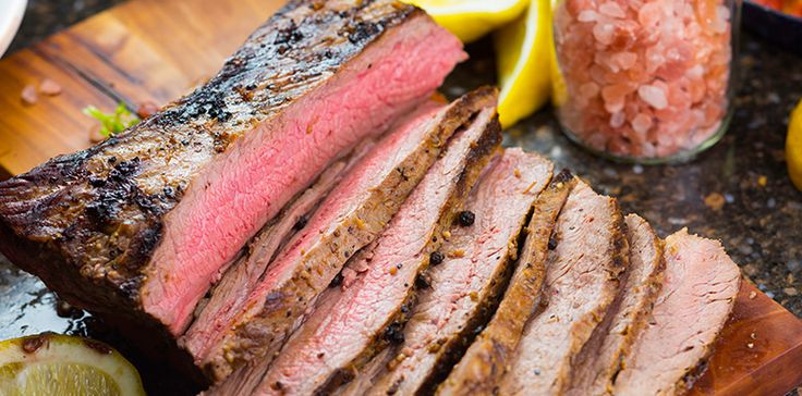 Flavors of ginger, garlic, soy sauce, and honey combine to create an umami sauce that takes lean flank steak to another level of delicious. Get the recipe.
